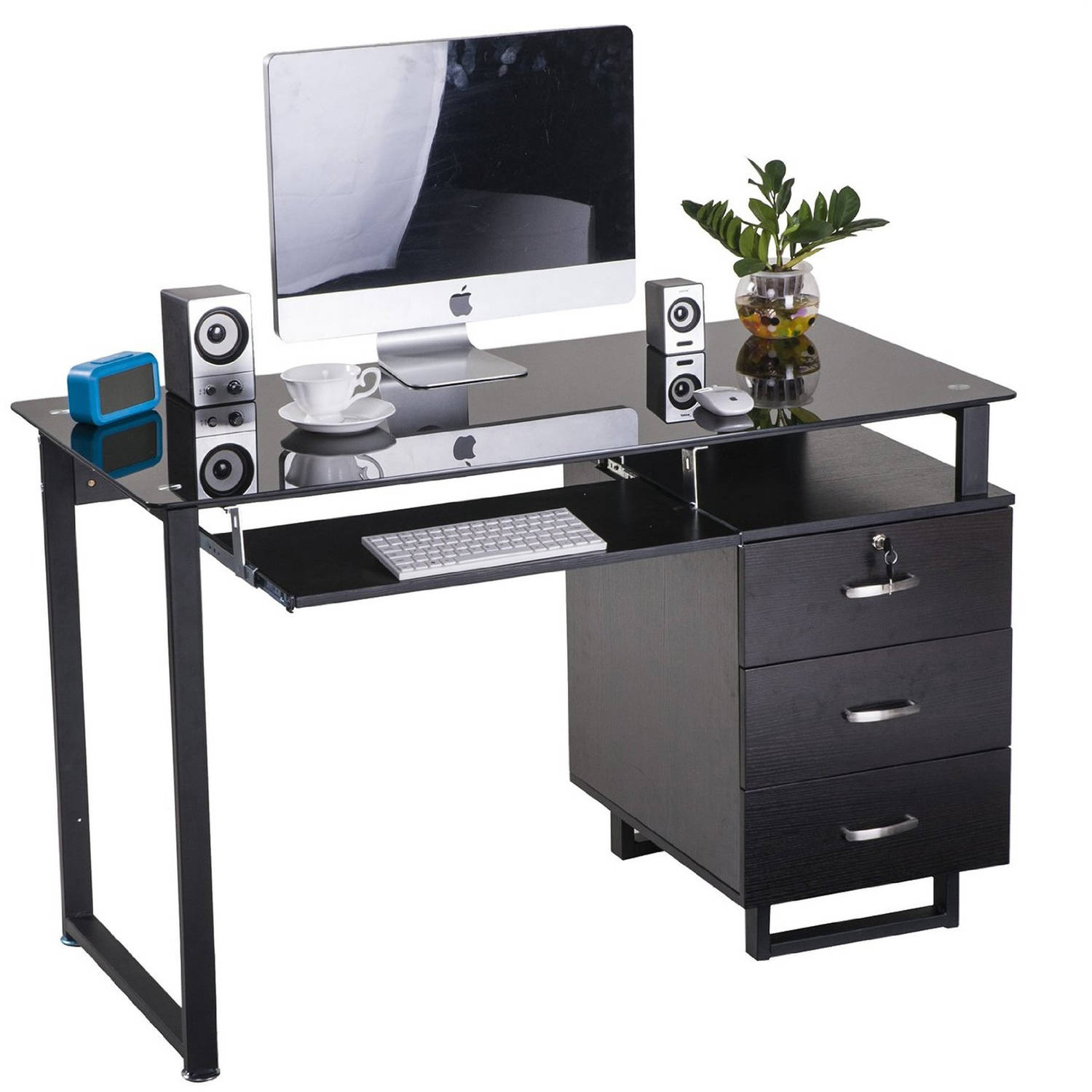 Merax Glass puter Desk fice Desk with Keyboard Tray and