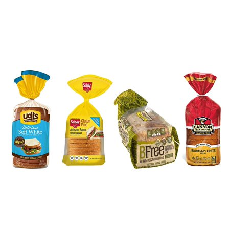 Gluten Free Bread Variety Pack, Contains: Udi's GF Delicious White Bread, Schar GF Artisan White Bread, Bfree GF White Sandwich Bread, and Canyon Bakehouse GF Mountain White -
