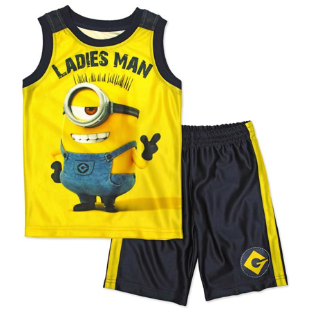 Despicable Me Boys Blue & Yellow Minion Ladies Man Outfit Shirt & Shorts Set 4](Minion Outfits)