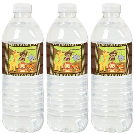 Funfari - Fun Safari Jungle - Baby Shower or Birthday Party Water Bottle Sticker Labels - Set of 20 (Safari Park Halloween Party)