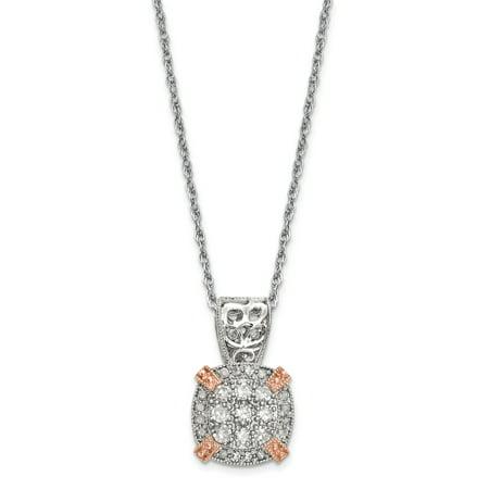 10K Two Tone Gold Tiara Collection Two Tone Rose   White Diamond Necklace