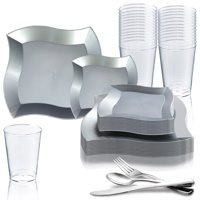 Disposable Plastic Party Dinnerware Set Wave (120-Person Package)