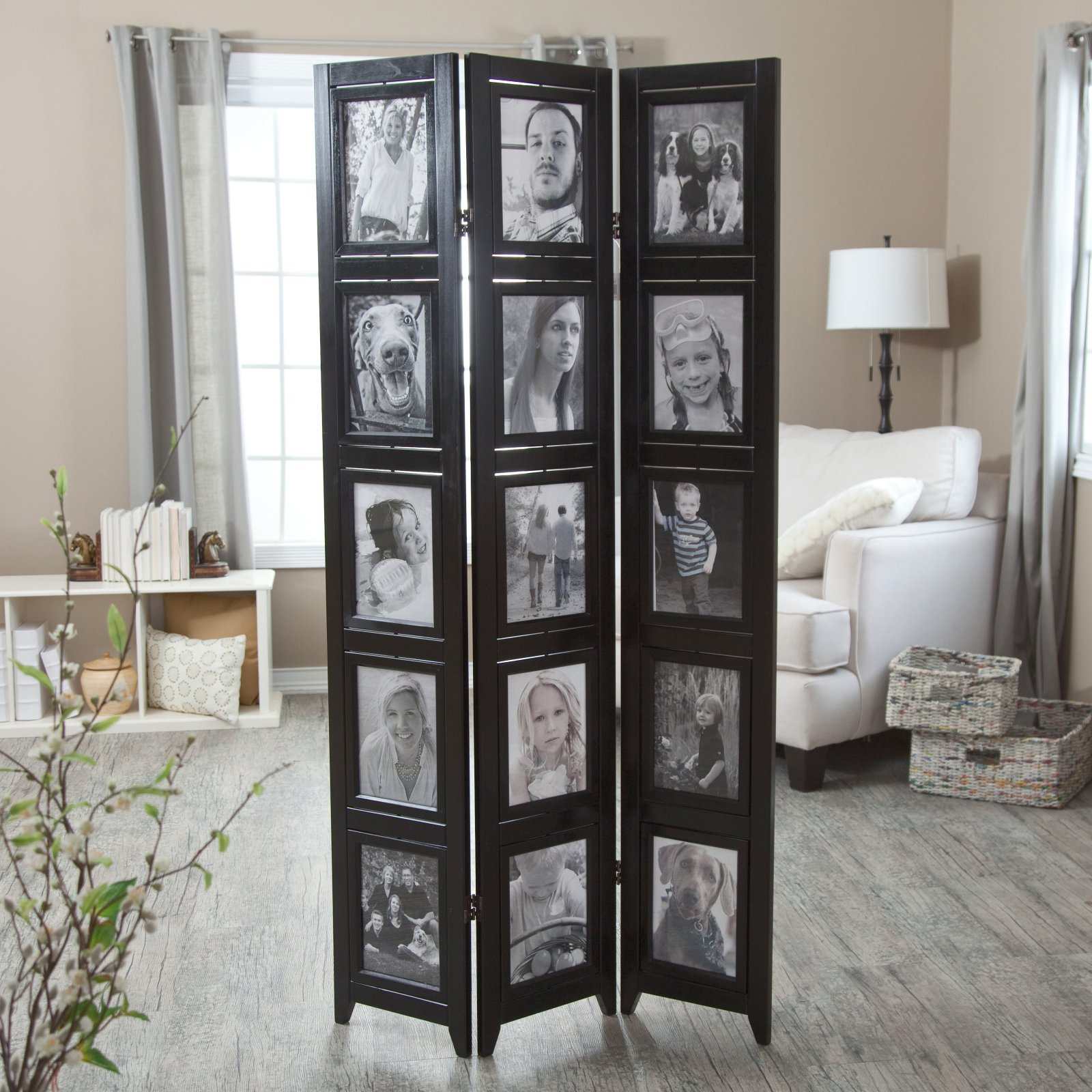 Memories Double Sided Photo Frame Room Divider - Black 3 Panel - 8 x 10