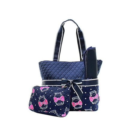 Quilted Diaper Bag 3-Piece Set, Mason Jar Navy/Navy By Quilted