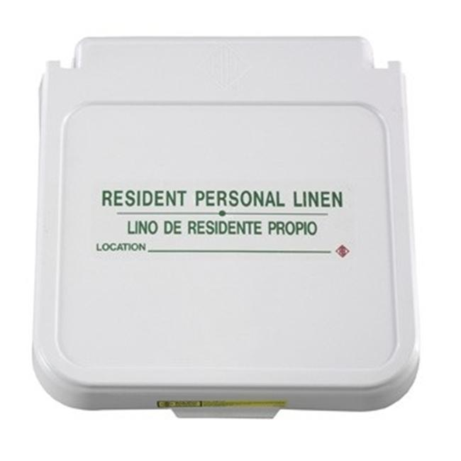 R&B Wire 602RL 12 inch x 4 inch Laundry Hamper Lid Label - Resident Personal Linen - Green Lettering