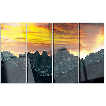 Whitney Design Set - Whitney Mountains Under Cloudy Sky' 4 Piece Graphic Art on Wrapped Canvas Set