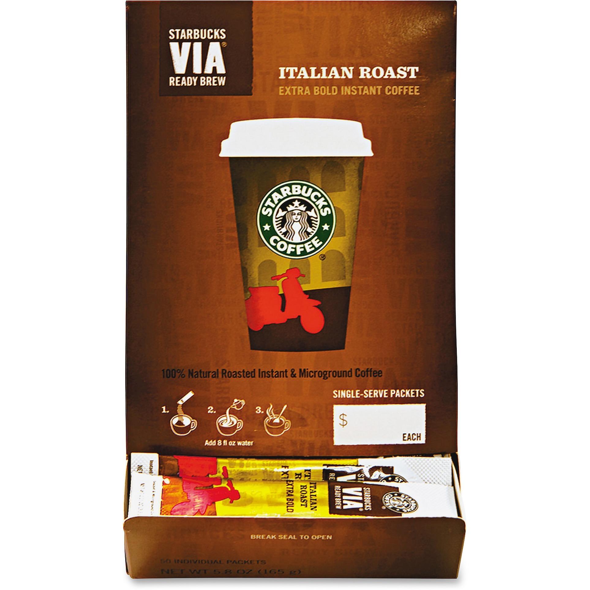 Starbucks, SBK11008130, VIA Ready Brew Italian Roast Coffee, 50 / Box