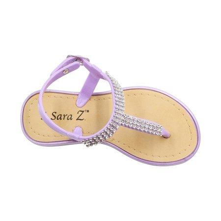 - Sara Z Toddler Girl's Rhinestone Strap Slingback Thong Jelly Sandal 7/8 Lilac