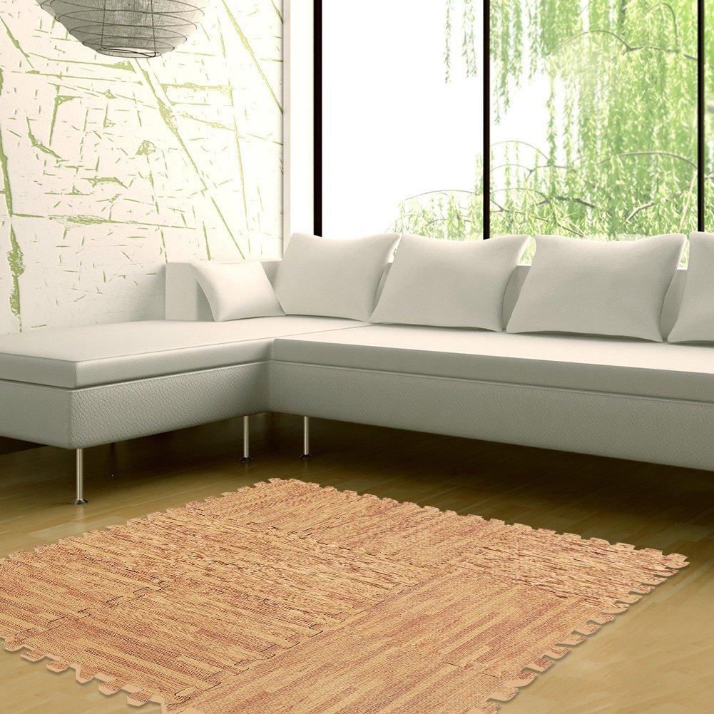 Anti Fatigue Cushioned Floor Mat, Estink Eva Wood Grain Foam Interlocking Puzzle, 9pcs 30x30cm for Office, Ergonomic, Counter(#1)