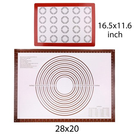 2 Silicone Baking Mats , 28x20 inch Extra Large Pastry Mat, Half Sheet 11-5/8 x 16-1/2 inch, Non-stick Pastry Mat with Measurements for Rolling Dough, Non Slip Bread Kneading Board, BPA Free
