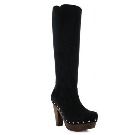 Abigail Adult Black Gold Metal Dome Stud Heeled Suede Boots
