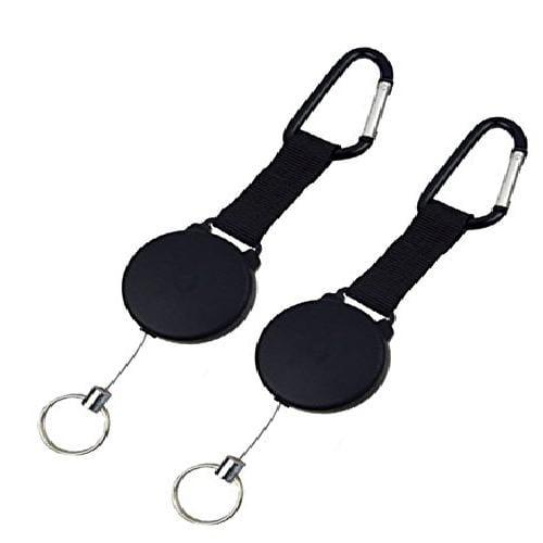 3 USA Large Heavy Duty Black Retractable Badge Holder Reel Chain ID Key Ring
