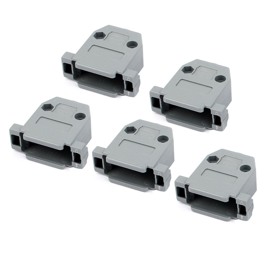 5 Pcs Plastic Serial Port D-Sub DB15 Connector Kit Backshell Gray w Screws