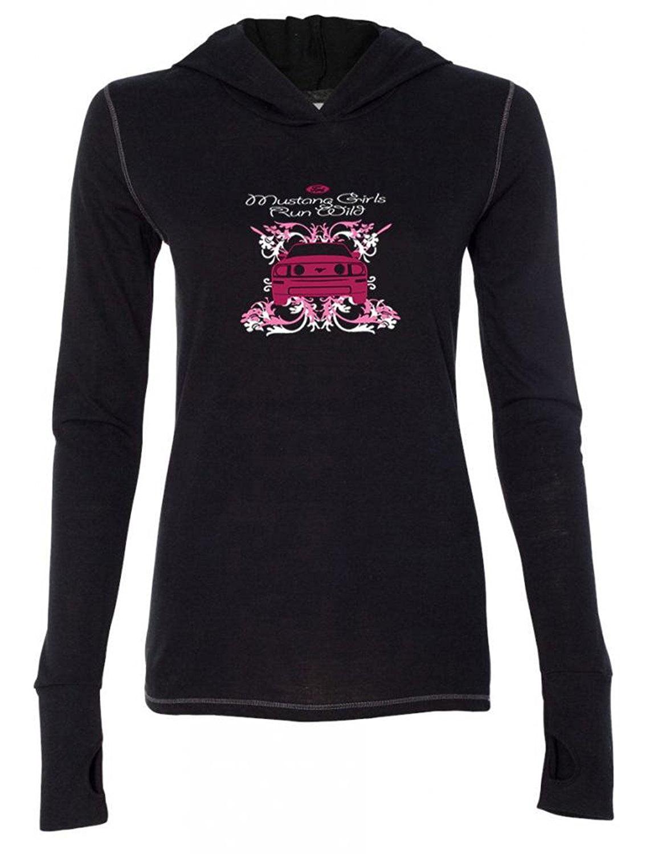 Ladies Mustang Girls Run Wild Hoodie Tee Shirt Black by