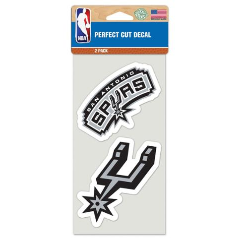 San Antonio Spurs Official NBA 4 inch x 4 inch  Each Die Cut Car Decal 2-Pack by Wincraft