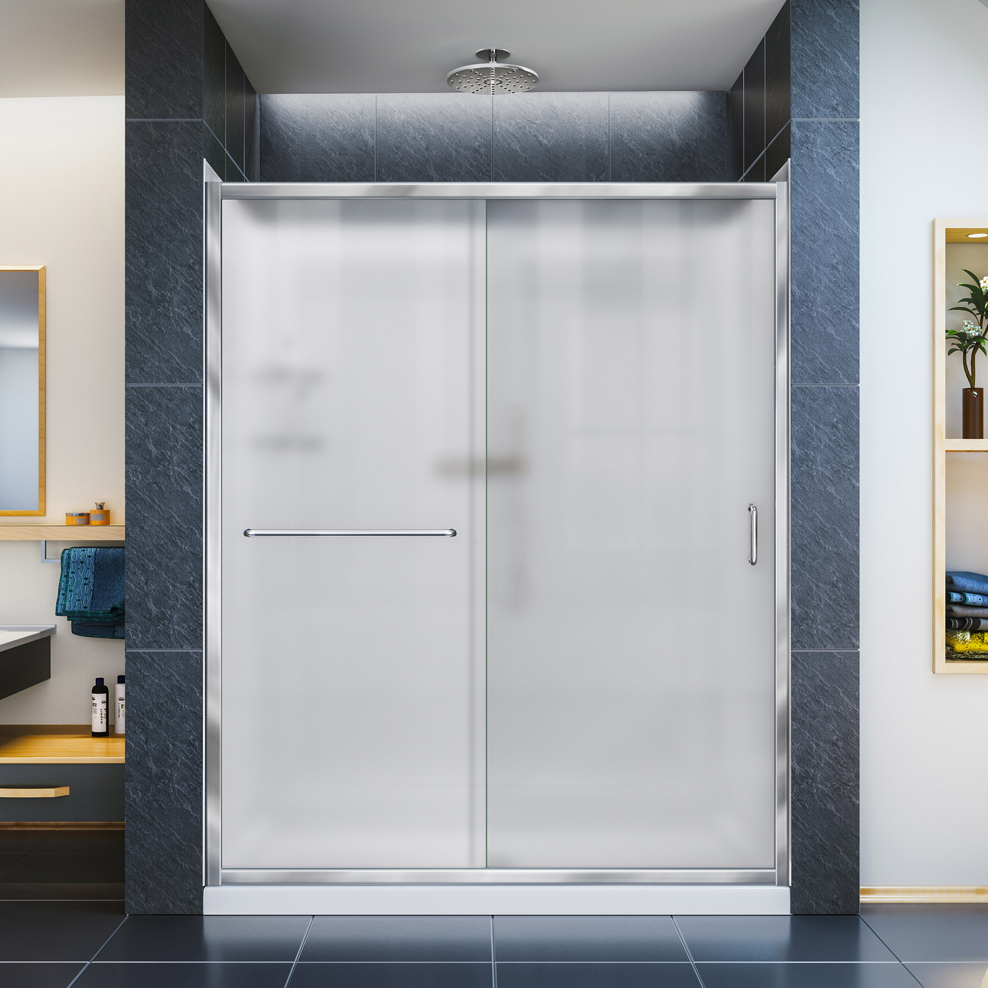 DreamLine Infinity-Z 32 in. D x 60 in. W x 76 3/4 in. H Frosted Sliding Shower Door in Chrome, Right Drain Base and Backwalls