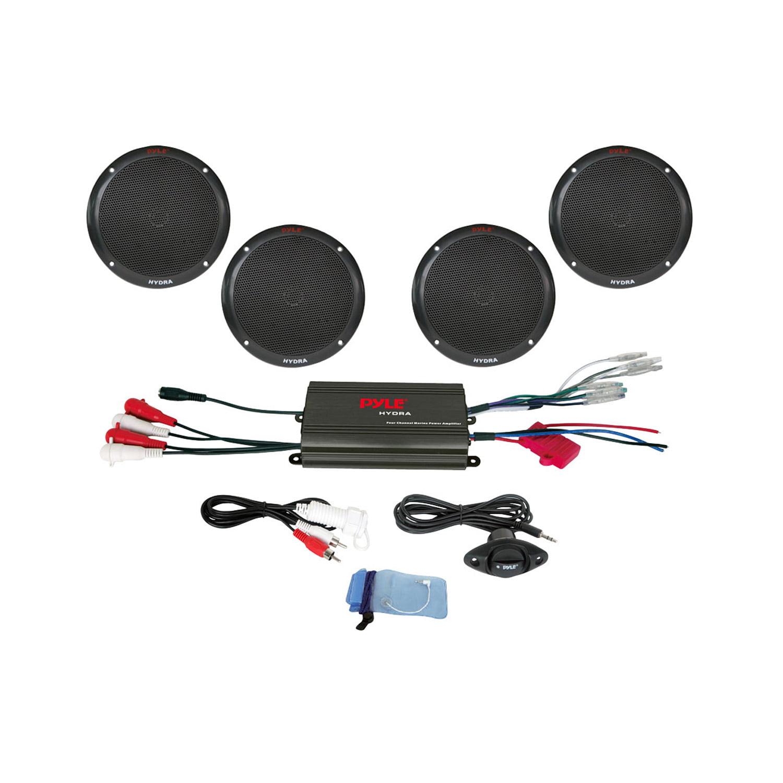 Pyle 4 Channel 800 Watt Waterproof Micro Marine Amplifier and 6.5-Inch Speaker System