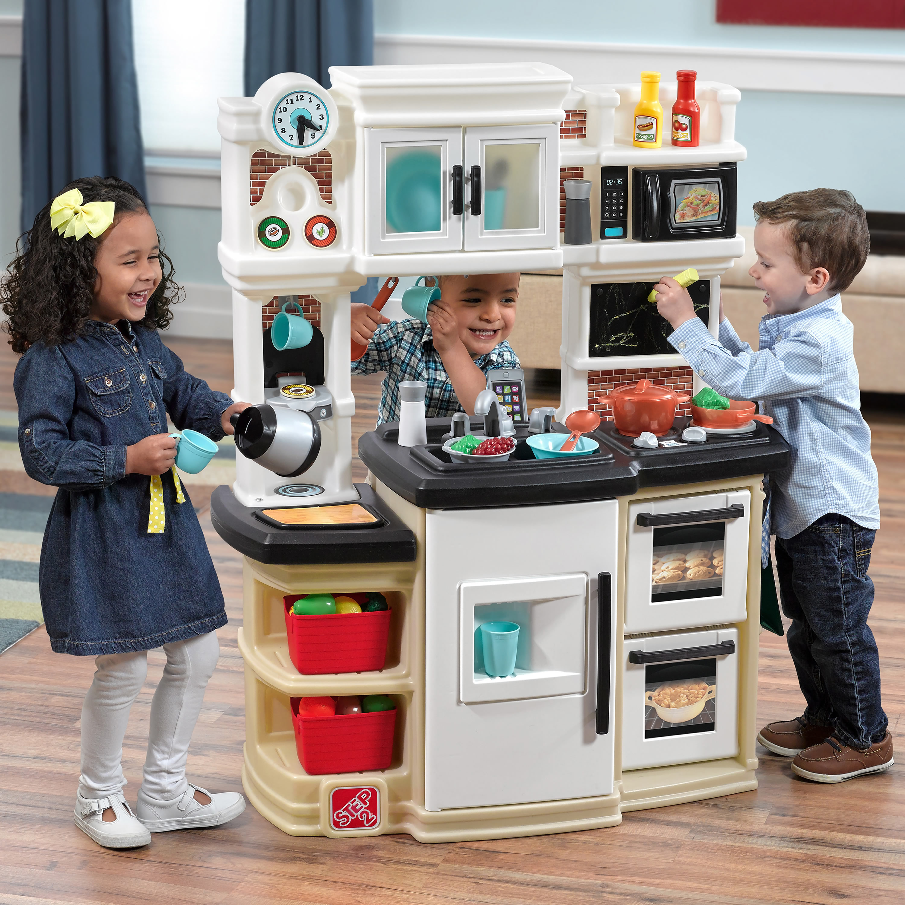 Step2 Great Gourmet Play Kitchen with Storage Bins and Accessory Set - Tan  - Walmart.com