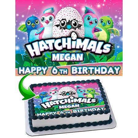 Hatchimals Edible Cake Topper Personalized Birthday 1 4 Sheet Decoration Custom Frosting Transfer Fondant Image