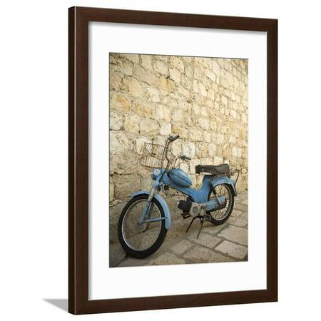 Blue scooter bike by old stone wall, Hvar Town, Hvar Island, Dalmatia, Croatia Framed Print Wall Art By John & Lisa