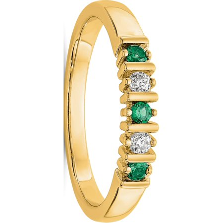 USA - 14k Yellow Gold 2.25mm Emerald AA Diamond Anniversary Band - image 1 de 2