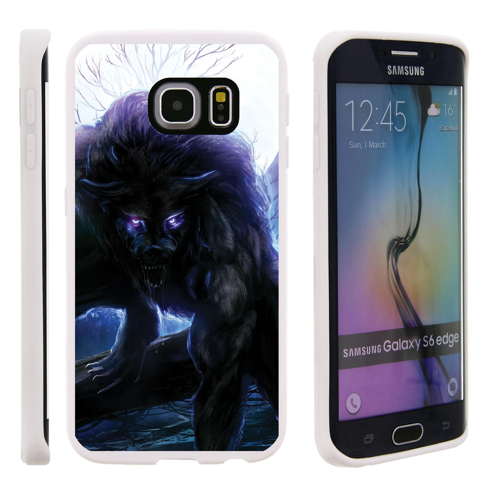 Samsung Galaxy S6 Edge G925, Flexible Case [FLEX FORCE] Slim Durable TPU Sleek Bumper with Unique Designs - Black and Purple Wolf