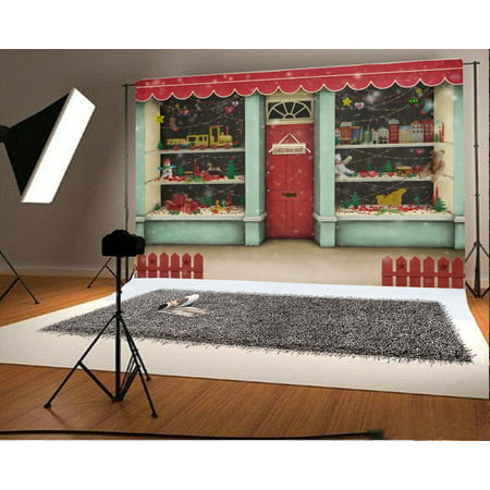HelloDecor Polyster 7x5ft Backdrop Christmas Shop Photography Background Decorated Xmas Showcase Gifts Holiday Shopping Store Toy Presents Children Baby Frontyard Fence Backdrop Photo Studio Props - Holiday Backdrops