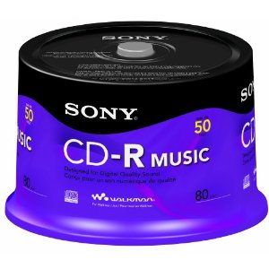 Sony CD-R, 80 min, 50CRM80RS, Branded, Music, 50pk Spindle