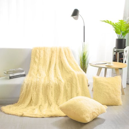 Faux Fur Plush Decorative Throw Blanket With 2 Cushion Covers Light Yellow