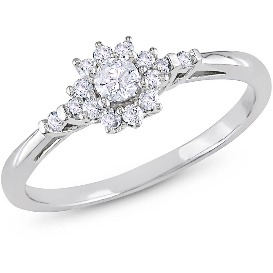 1/4 Carat T.W. Diamond Flower-Halo Engagement Ring in 10k White Gold