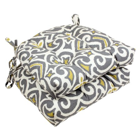 Pillow Perfect Damask Reversible Chair Pad - Set of 2