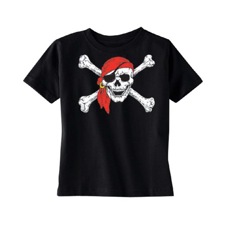 Jolly Roger Pirate Flag TODDLER T-shirt Kids Black 4T