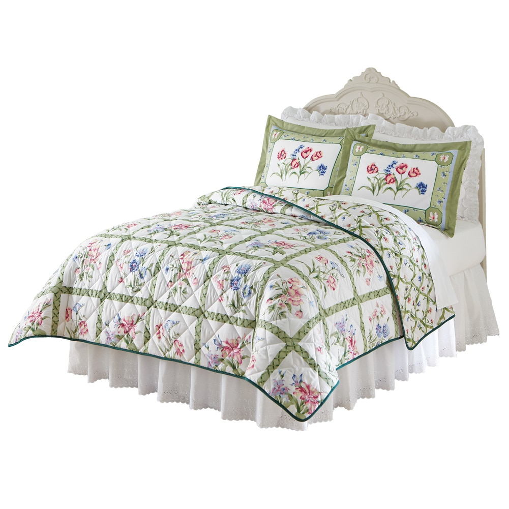 Summer Breeze Floral Lattice Reversible Lightweight Quilt, Full Queen, Blue by Collections Etc