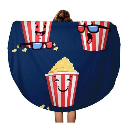 NUDECOR 60 inch Round Beach Towel Blanket Smiley Cartoon Popcorn Striped Bucket 3D Eyewear Cinema Time Travel Circle Circular Towels Mat Tapestry Beach Throw - image 1 de 2