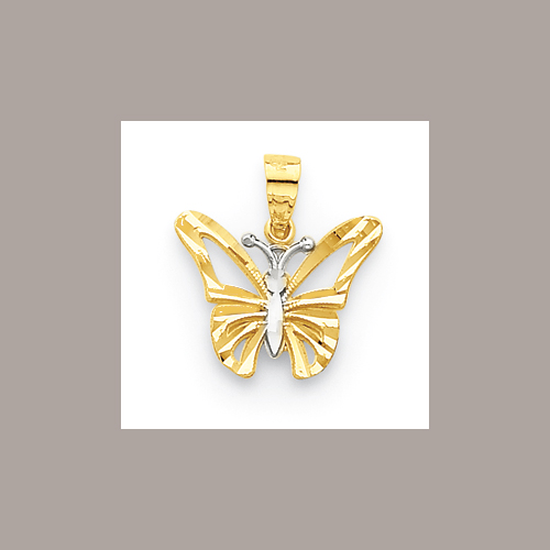 Goldia 10k Yellow Gold Rhodium Butterfly Pendant