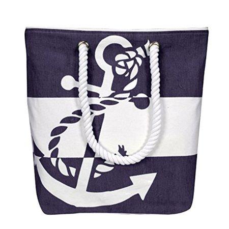 Anchor Bag - Peach Couture Summer Fashion Chic Anchor Print Canvas Bags Beach Totes Handbags