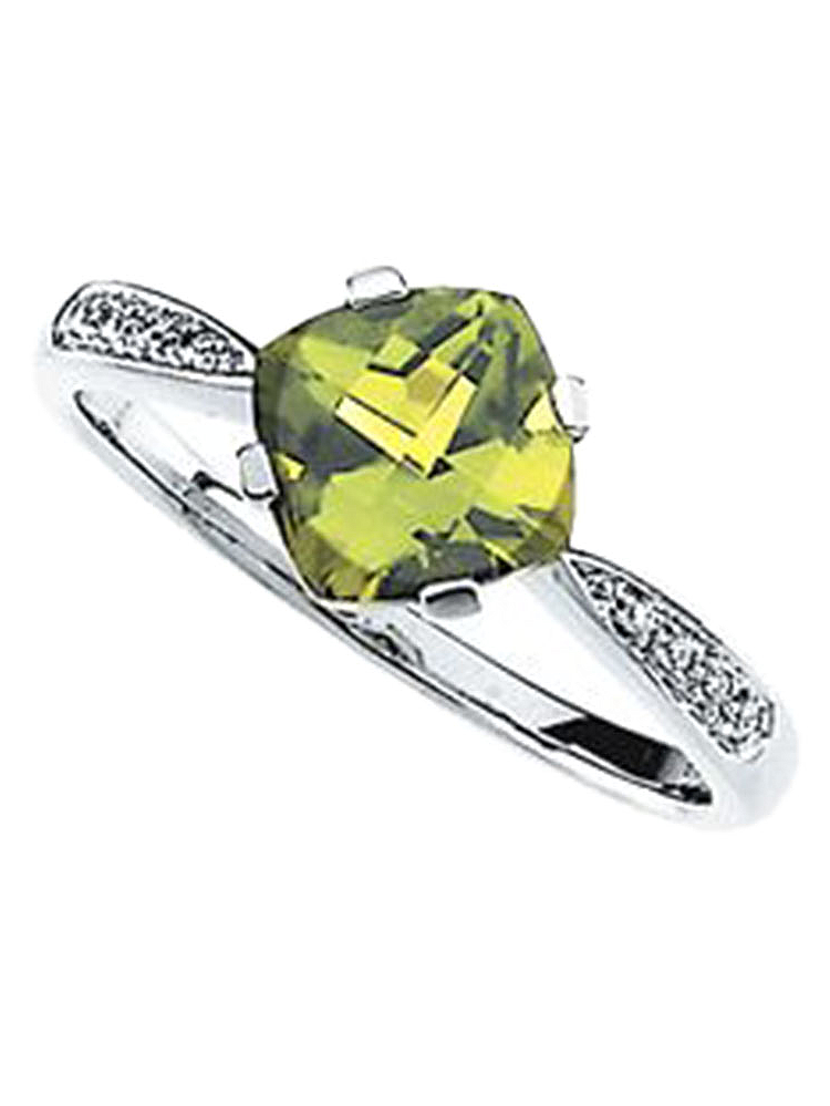 14K White Gold Cushion Cut Solitaire Peridot and Diamond Ring by
