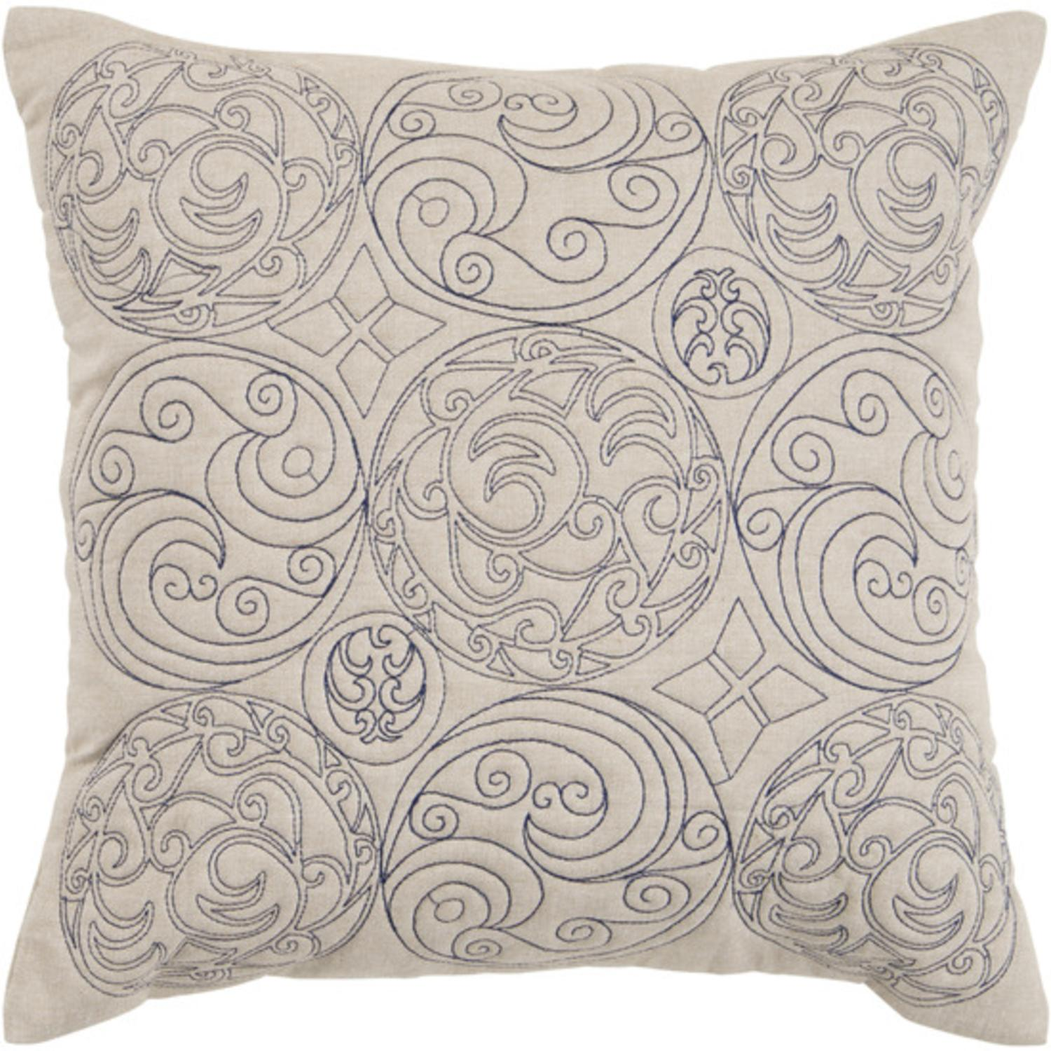 "18"" Medieval Circle Scroll Black Ink and Parchment Decorative Down Throw Pillow"