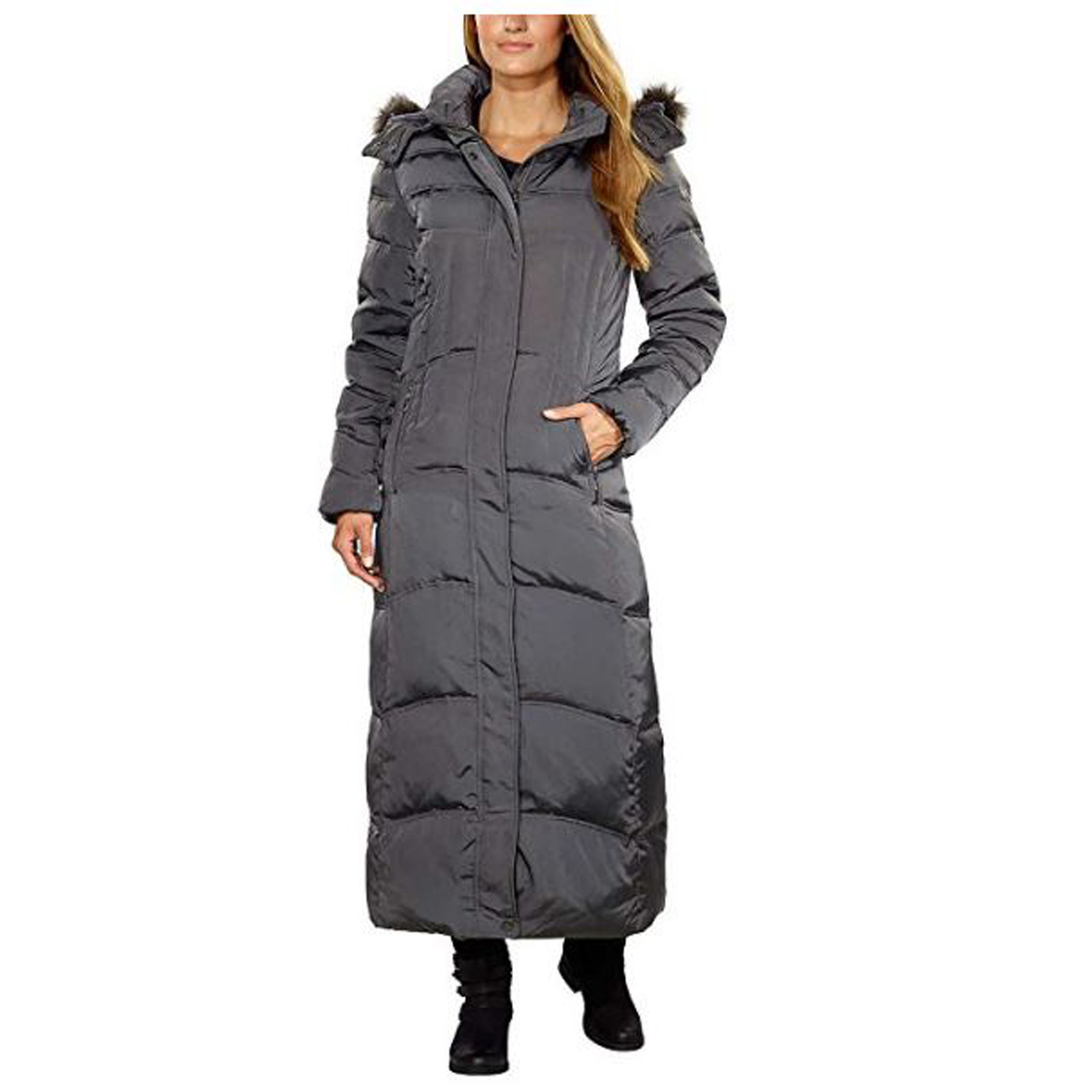 1 MADISON Women's Hooded Maxi Luxe Down Parka Coat (Gunme...