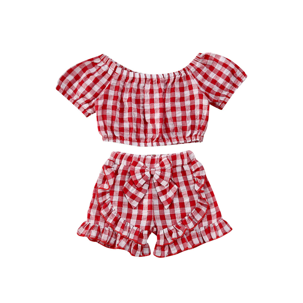2Pcs//Set Toddler Baby Girl Clothes Summer Outfits Ruffle Off Shoulder Tops Plaid Shorts Pants