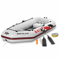 Goplus 2-3 Persons Inflatable Fishing Boat w/ Oars and Air Pump Water Sports
