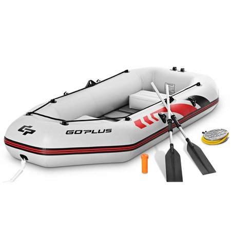 Goplus 2-3 Persons Inflatable Fishing Boat w/ Oars and Air Pump Water Sports Sport Fishing Boat