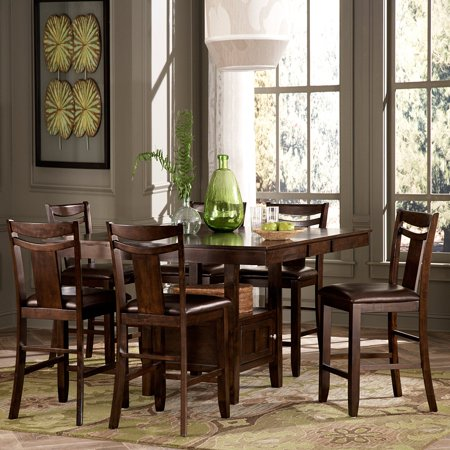 homelegance broome 7 piece counter height expandable storage dining table set dark brown. Black Bedroom Furniture Sets. Home Design Ideas