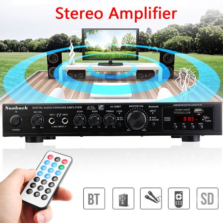 Sunbuck 110V 2000W 5CH AV Sound High Power Amplifier Home Theater Cinema Receiver B luetooth 4.1 HIFI Stereo Amp RCA Mixer Echo System Remote Control For Karaoke MP3 DVD