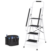 Best Choice Products 4-Step Portable Folding Anti-Slip Steel Safety Ladder w/ Handrails, Attachable Tool Bag