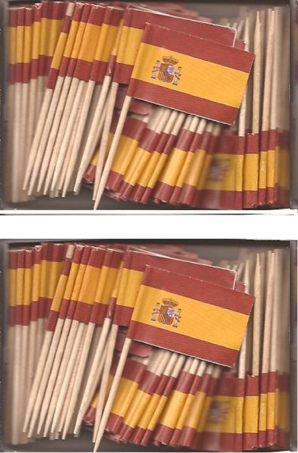 2 Boxes of Mini Spain Toothpick Flags, 200 Small Spanish Flag Toothpicks or...
