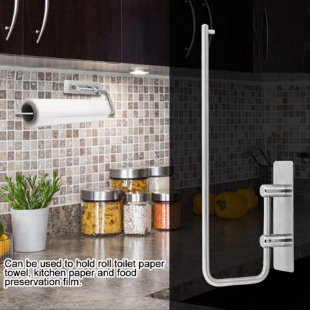 Adhesive 304 Stainless Steel Tissue Storage Rack Home Kitchen Roll Paper Towel Holder, Paper Towel Holder, Kitchen Paper Towel Holder