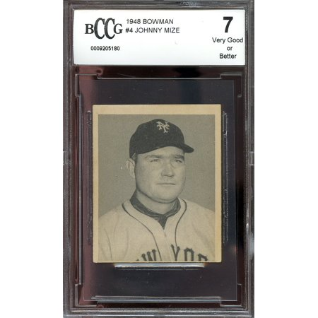 1948 bowman #4 JOHNNY MIZE giants rookie (VERY GOOD OR BETTER) BGS BCCG 7