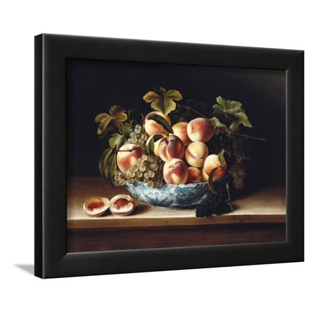 Grape Bowl Wall - Peaches and Grapes in a Blue and White Chinese Porcelain Bowl, 1634 Framed Print Wall Art By Louise Moillon