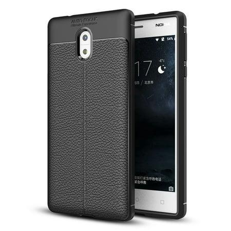 Nokia 3 Soft Case, Mooncase Slim Flexible TPU Cases with Litchi Skin Design Protectors Cover for Nokia 3 5.0 inch - Black - Walmart.com